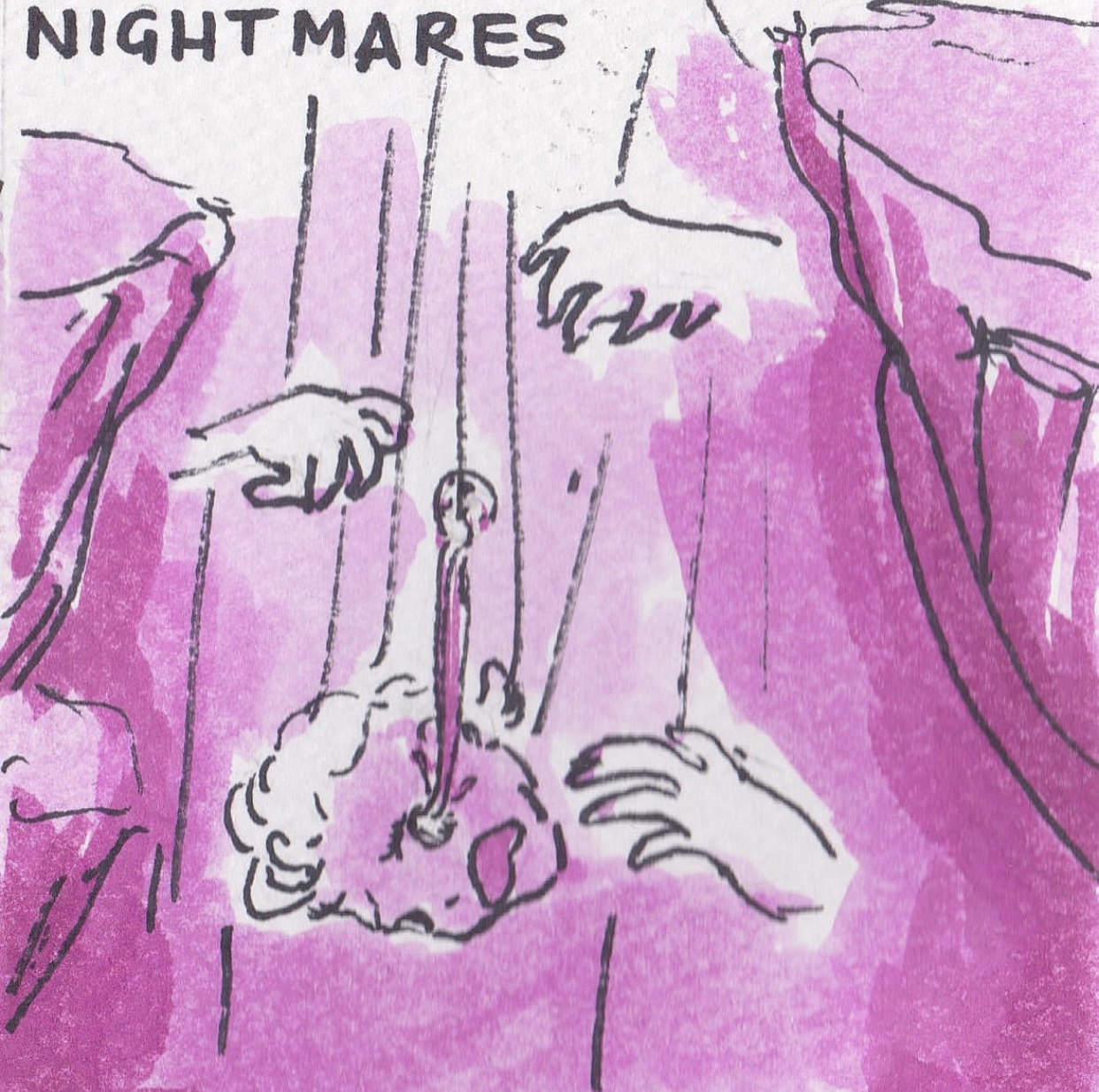 """Elyssa's illustrated comic of PTSD, drawn in ink and coloured in shades of pink and magenta watercolour paint. This image is titled """"Nightmares,"""" and shows Elyssa's disembodied head free-falling down a cavern. On either side, disembodied hands reach out to grab her. One of her eyeballs is falling out and trailing behind her."""
